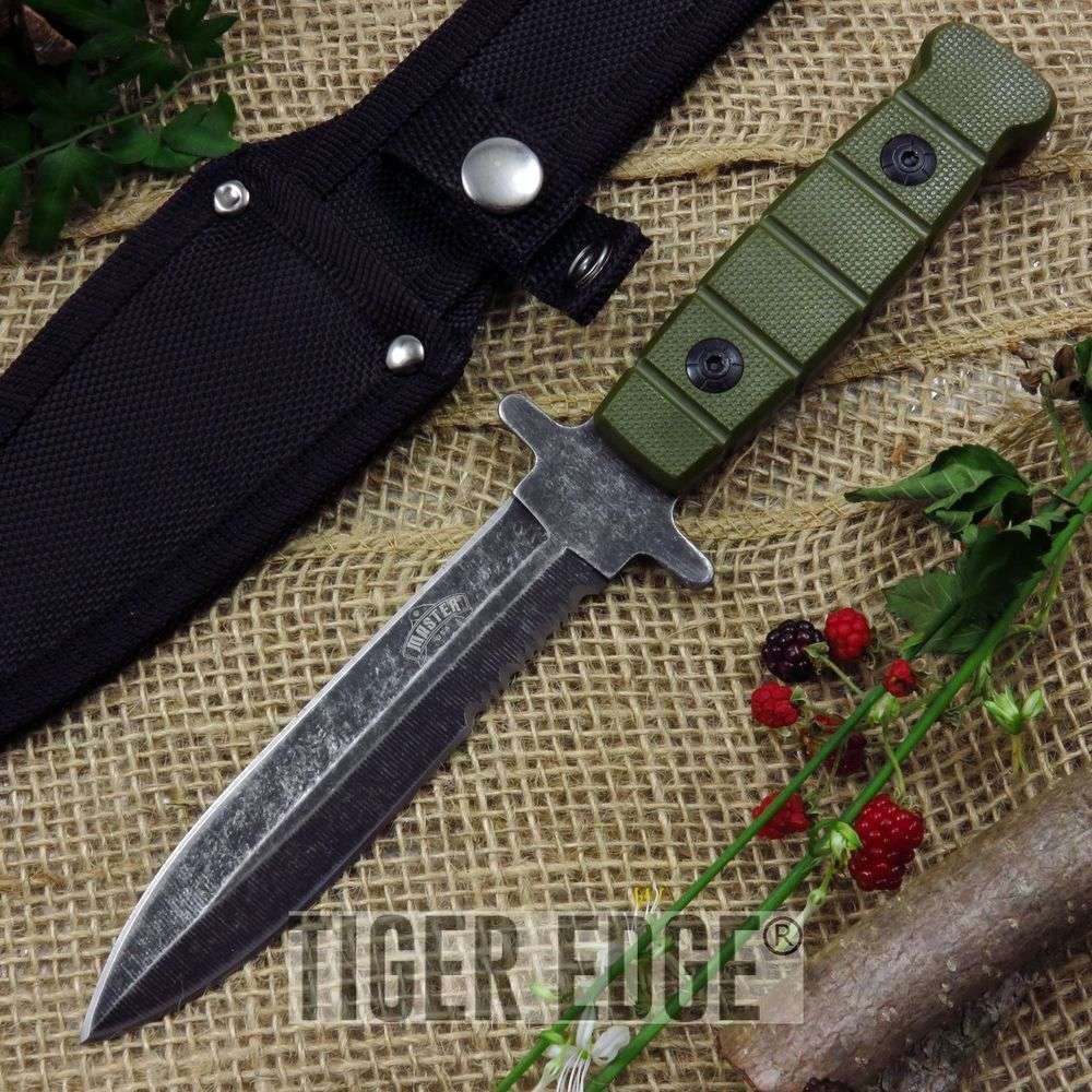 serrated army green full tang dagger double edged knife