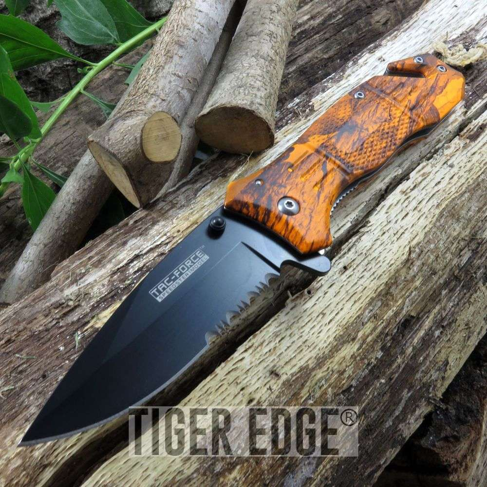 Tac Force Orange Camo Heavy Duty Spring Assisted Rescue Folding Knife