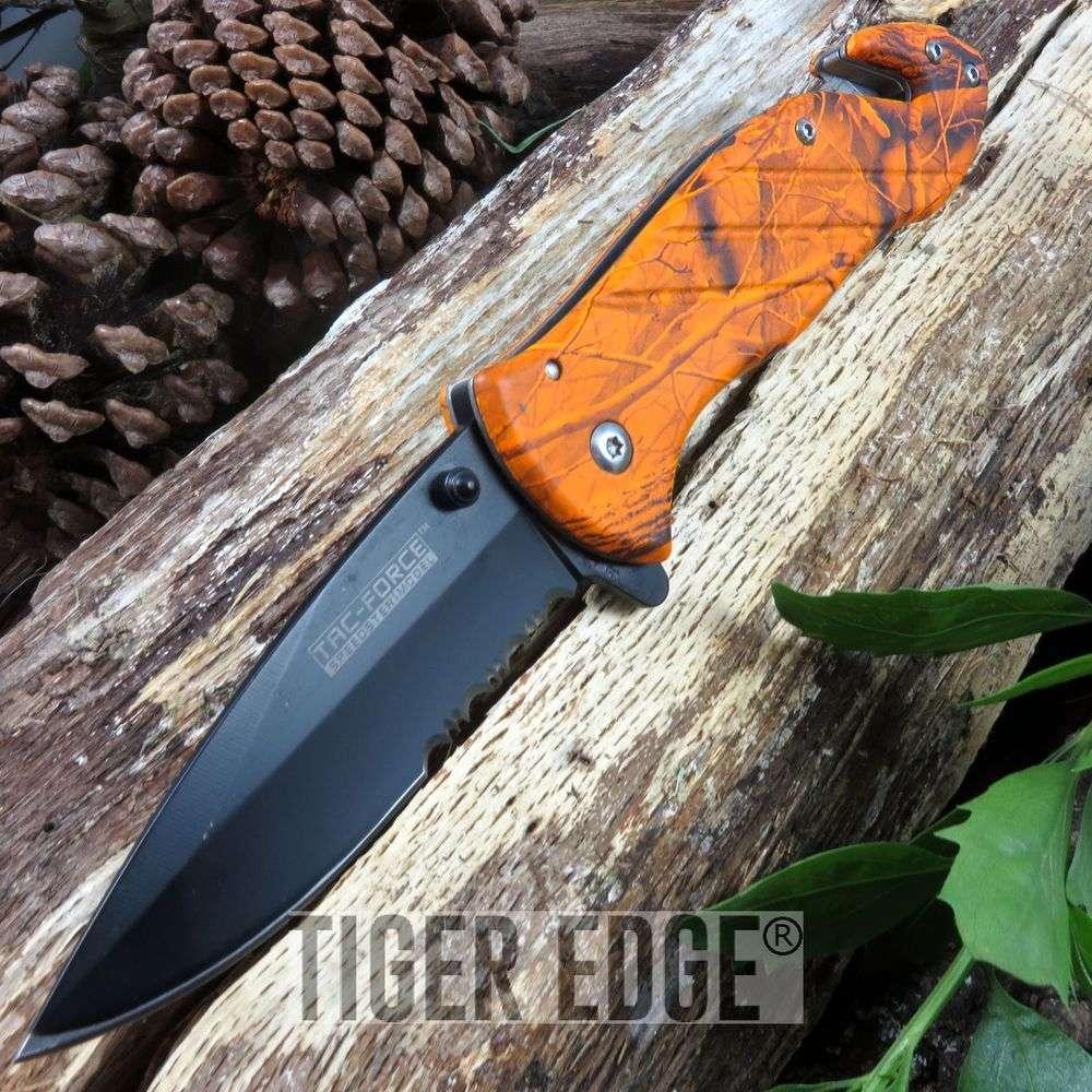 Tac Force Blade Spring Assisted Orange Camo Rescue Folding Knife