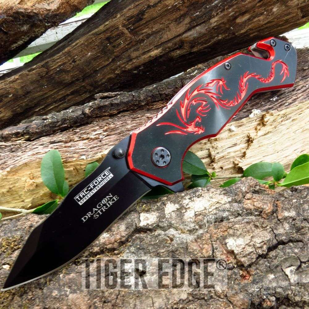 Tac Force Black And Red Dragon Strike Spring Assisted Rescue Folding Knife