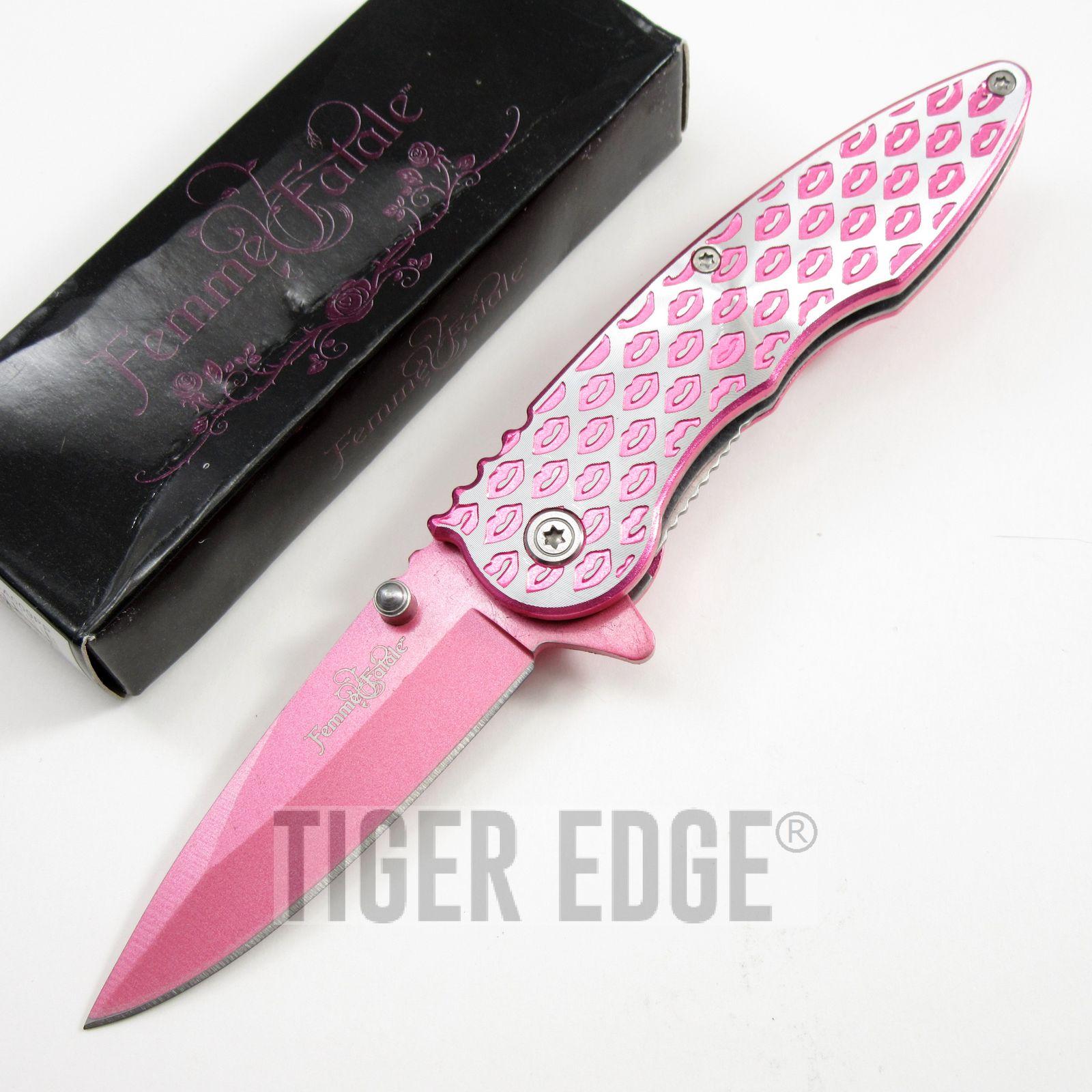 spring assist folding pocket knife femme fatale pink lip girl image is loading spring assist folding pocket knife femme fatale pink