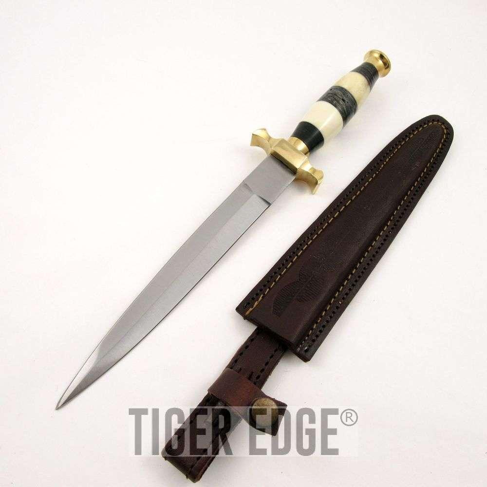 125quot blackwhite wood handle double edged commando combat