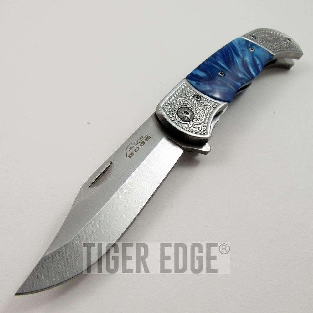 Spring Assist Folding Pocket Knife Silver Blade Marble