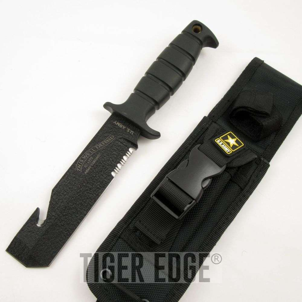 FIXED BLADE KNIFE Tactical US ARMY Military Combat Black ...