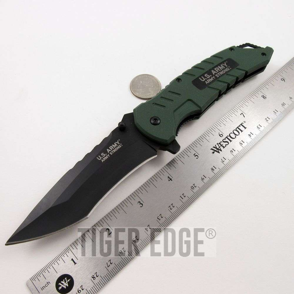 US Army Green G10 Spri... Brass Knuckles Folding Knife