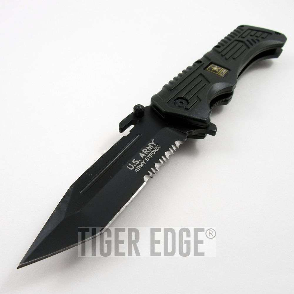 Us Army Strong Black Tanto Serrated Tactical Spring