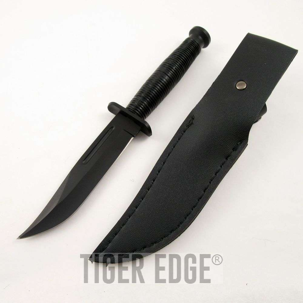 "9"" Vindicator Black Mini Combat Bowie Knife w/ Leather Sheath"