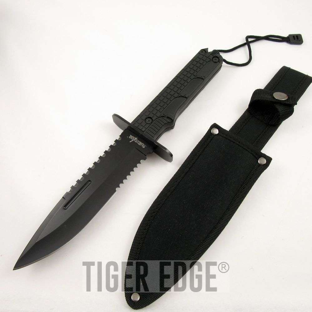 """FIXED-BLADE SURVIVAL KNIFE 12"""" Black Serrated Military ..."""