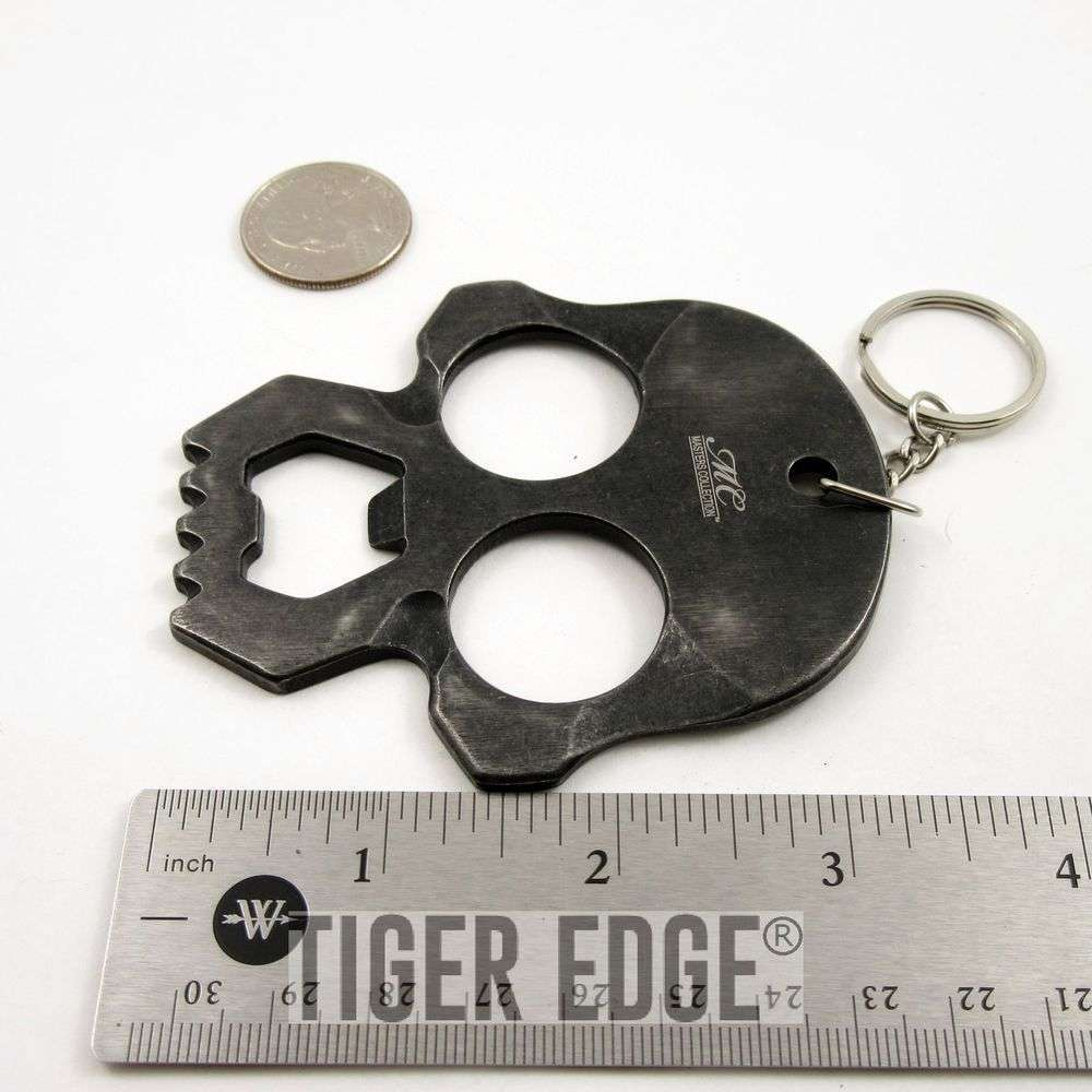master collection dark gray skull bottle opener key chain brass knuckle edc. Black Bedroom Furniture Sets. Home Design Ideas