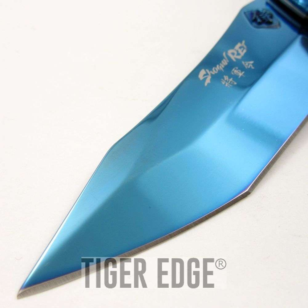 SPRING-ASSIST FOLDING POCKET KNIFE Blue Chrome Japan Samurai Shogun ...