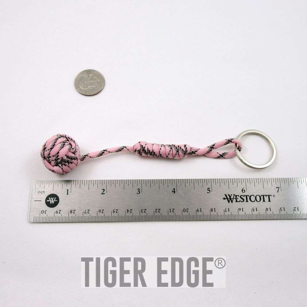 Women s Pink Paracord Monkey Fist Keychain Girl s Camo Self Defense Gift cbc8d58441