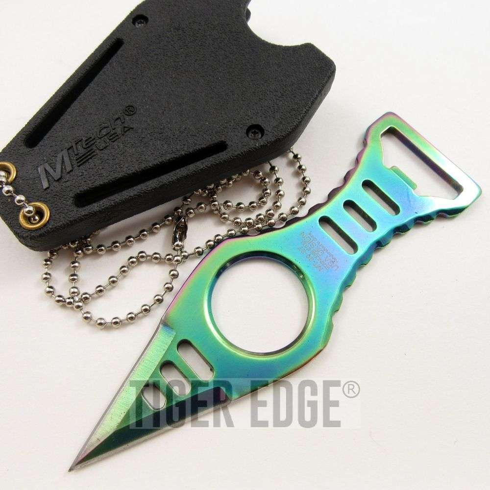 mtech rainbow titanium blade neck knife dagger w bottle opener. Black Bedroom Furniture Sets. Home Design Ideas