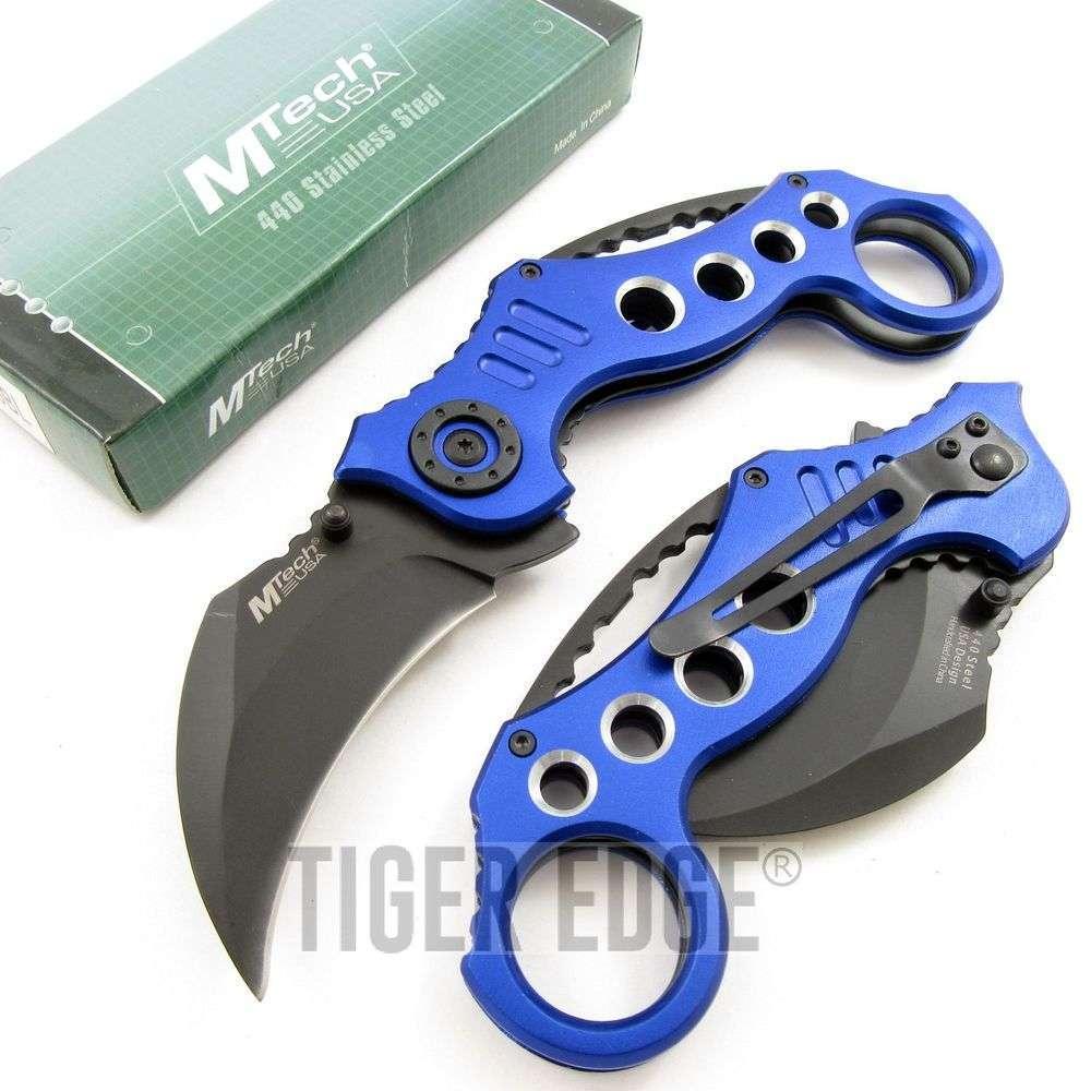 "Folding Knives > Manual > 5.25"" Tactical Blue Karambit Folding Knife"
