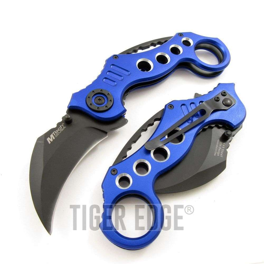 "Folding Knives > Manual > 5.25"" Tactical Blue Karambit Folding Knife"