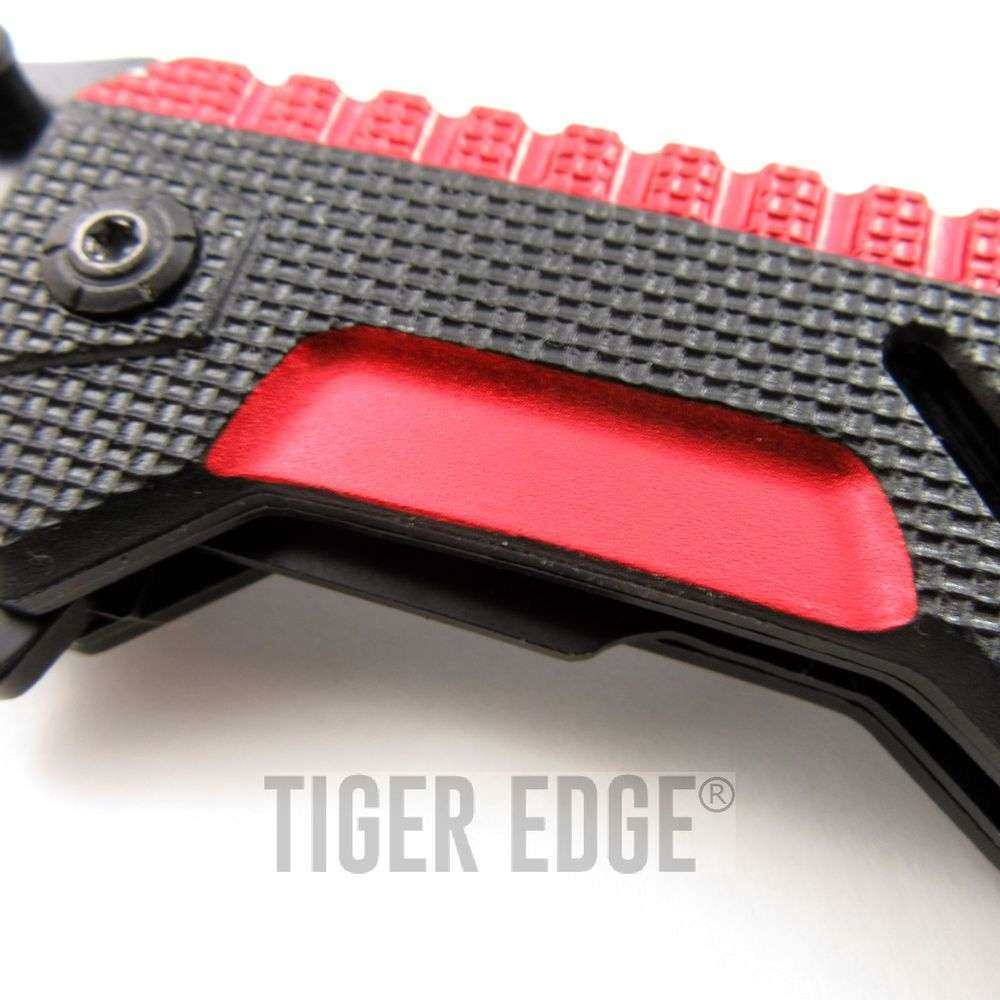 ... Spring-Assist Tactical Folding Knife Futuristic Red Serrated Tanto