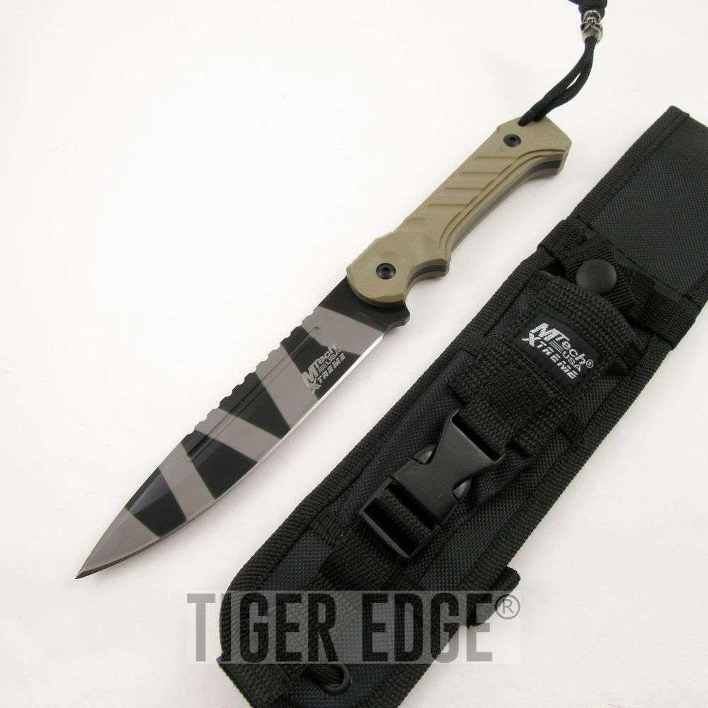 "Mtech 11"" Tactical Slim Fixed Blade Tan & Camo Grey ..."