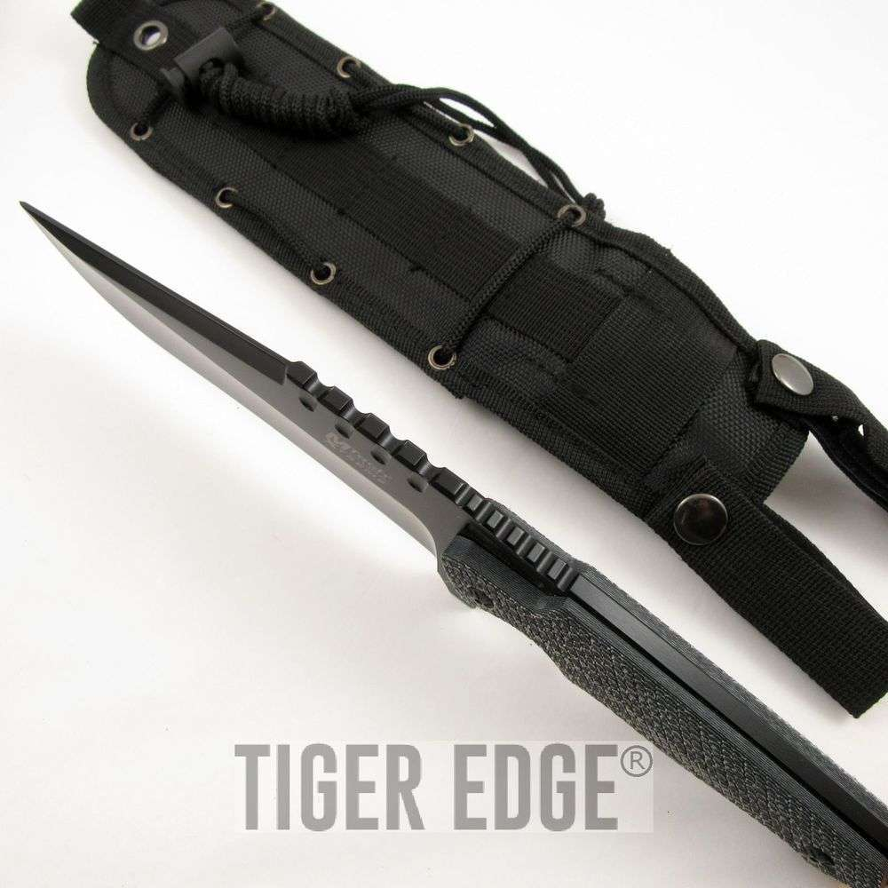 Mtech Xtreme Black Micarta Handle Big Tactical Fixed-Blade ...