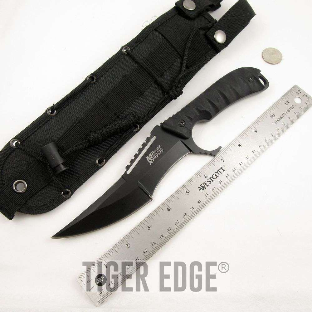 FIXED-BLADE TACTICAL KNIFE | Mtech Black Bowie Combat ...
