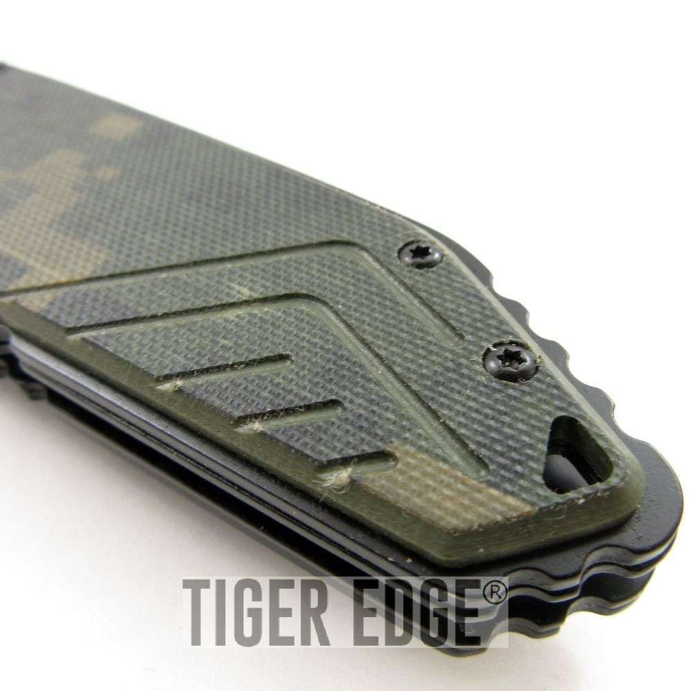 Mtech Xtreme Camo G10 Serrated Futuristic Spring Assist Folding Knife