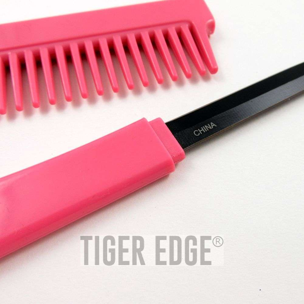 pink hidden blade comb knife women s self defense girl s gift classic pink hidden blade comb knife women s self defense girl s gift