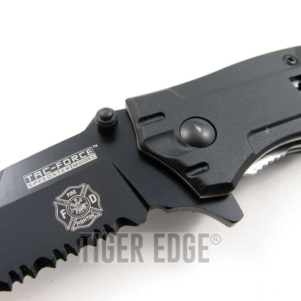 > Tac-Force Fire Fighter Red/Black Spring Assisted Rescue Knife