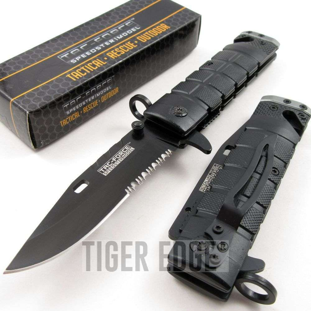 Tac Force Black Grey M9 Bayonet Style Spring Assisted