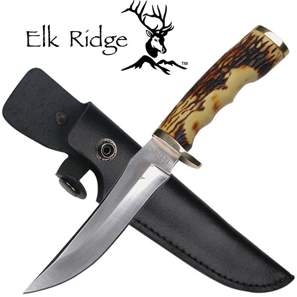 Elk Ridge 8 Quot Bone Handle Fixed Blade Hunting Knife W