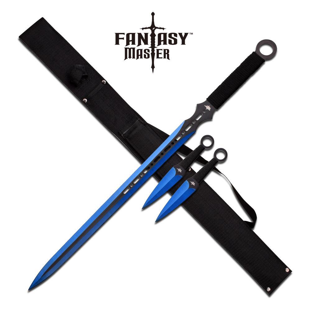 NINJA SWORD SET | Fantasy Black Blue Blade Double Edge + 2 Kunai Throwing Knives
