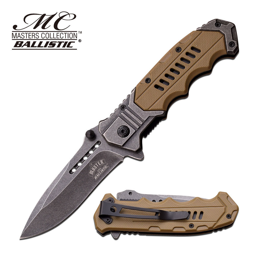 SPRING-ASSISTED FOLDING POCKET KNIFE Tan Everyday Carry ...