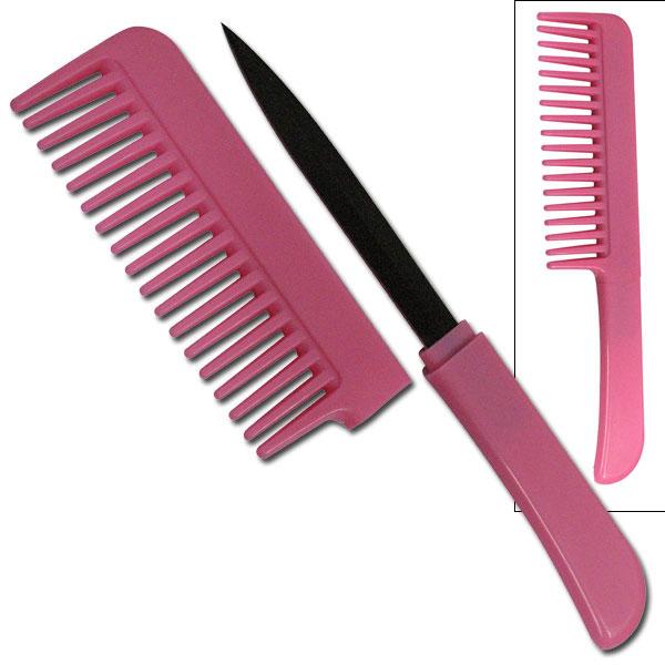 Classic Pink Hidden Blade Comb Knife Women S Self Defense