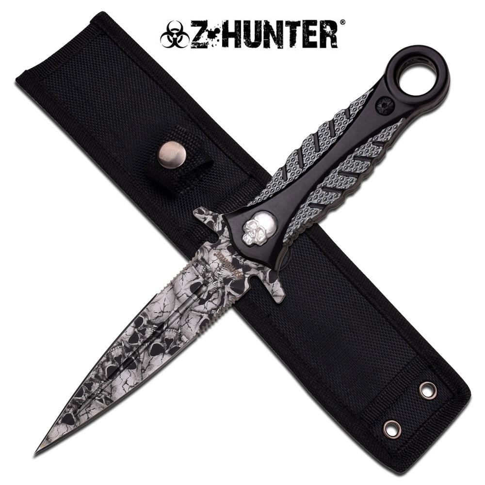Z Hunter Zombie Grey Skull Dagger Double Sided Knife