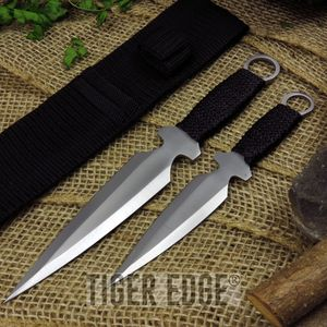 2-Pc. Silver Modified-Kunai Throwing Knife Set w/ Black Nylon Belt Sheath