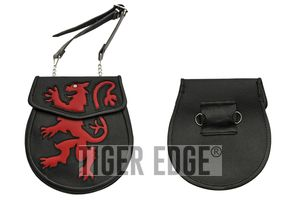 Medieval Belt Bag | Black Red Real Leather Coat of Arms Lion Day Sporran Pouch
