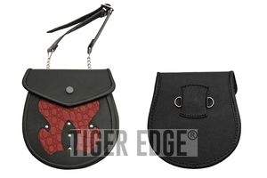Medieval Belt Bag | Black Red Real Leather Day Sporran Pouch Purse