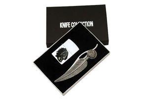 FOLDING POCKET KNIFE   Native American Indian Feather Folder with Lighter Set