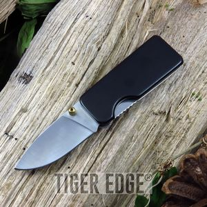 FOLDING KNIFE | Black Silver Blade Money Clip EDC - Great Gift! - 210649