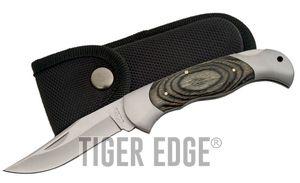 FOLDING POCKET KNIFE   4.75'' Gray Wood Lockback + Black Nylon Belt Sheath