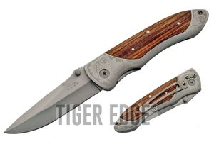 FOLDING POCKET KNIFE | Laser Etched Stainless Steel Blade Wood Handle Hunter EDC