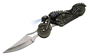 LED Folding Knife | Skull Rider Motorcycle Light-Up Eyes Silver Blade