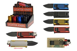 Spring-Assisted Folding Knife Cigarette Lighter Case Black Blade, Aluminum 12 Pc