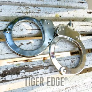 HANDCUFF SET | Classic Silver Chain Hand Cuff Law Enforcement Police Gear
