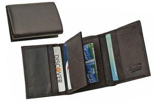 Dark Brown Genuine Leather Trifold Wallet