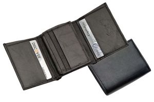Black Genuine Leather Trifold Wallet