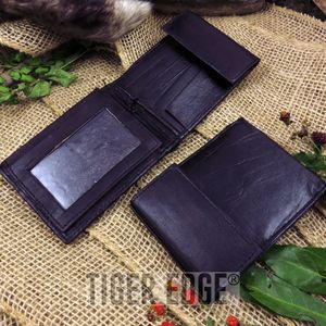 Black Genuine Leather Bifold Wallet w/ Velcro Closing Mechanism