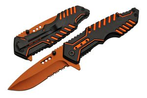 Spring-Assisted Folding Pocket Knife | Black Orange Serrated Blade Tech Tactical