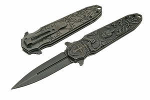 Spring-Assist Folding Knife | Gray Stone Stiletto Blade Medieval Knight Chivalry