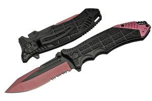 Spring-Assist Folding Knife   Black Pink Rite Edge Serrated Blade EDC Low Cost