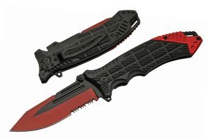 Spring-Assist Folding Knife   Black Red Rite Edge Serrated Blade EDC Low Cost