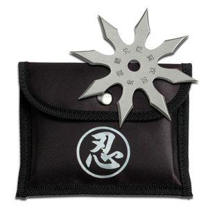 Single Silver Throwing Star Eight-Point Chinese Symbol Ninja Shuriken Knife