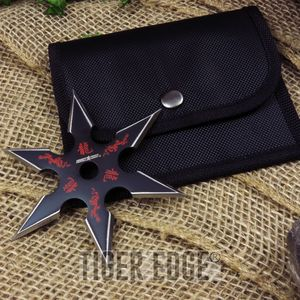 Single Black Red Throwing Star Six-Point Chinese Dragon Symbol Ninja Knife